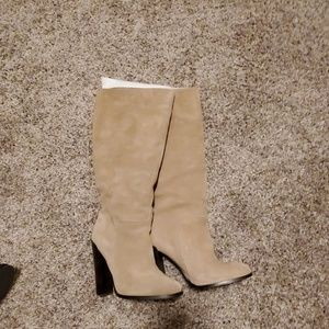 Tall suede tan boots